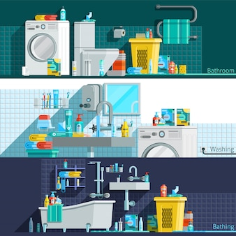 Iconos de higiene banners horizontales planas
