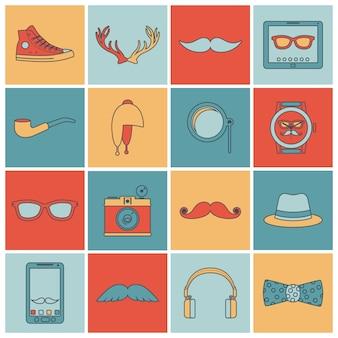 Iconos de hipster establecen línea plana