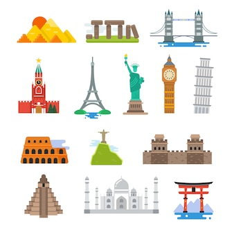 Iconos de hitos de vector de arquitectura mundial famoso viaje