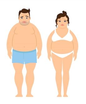 Iconos de hombre y mujer con sobrepeso sobre fondo blanco