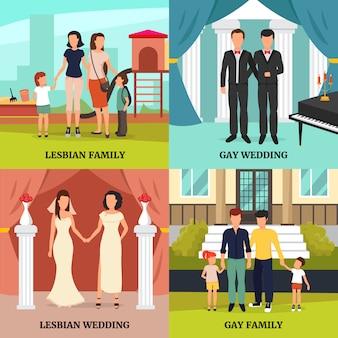 Los iconos homosexuales del concepto de familia fijaron con el vector aislado plano de los símbolos de la boda gay y lesbiana