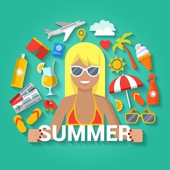 Iconos de horario de verano con elementos de vacaciones de mar y mujer feliz.