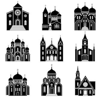 Iconos de la iglesia. edificio basílica y capilla aislado