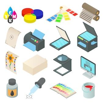 Iconos de impresión establecidos en estilo de dibujos animados