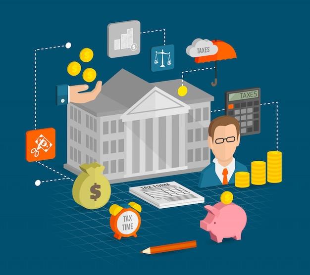 Iconos de impuestos isométricos