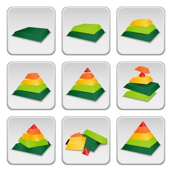 Iconos indicadores de estado de pirámide