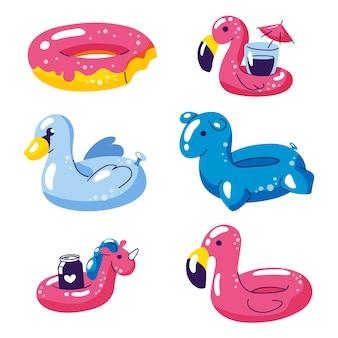 Iconos inflables de los flotadores de los niños lindos de la piscina aislados en blanco.