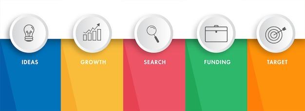 Iconos de infografía empresarial de cinco pasos como idea