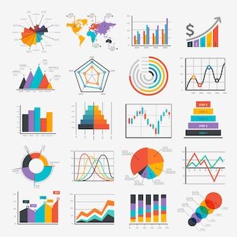 Iconos de infografía empresarial.