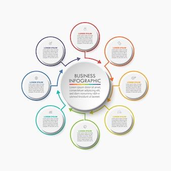 Iconos de infografía de línea de tiempo diseñados para la plantilla de fondo abstracto