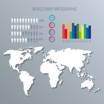 Iconos de infografía planeta mundial