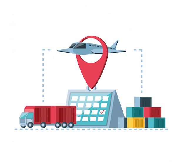 Iconos de infografía de servicio de entrega
