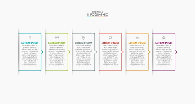 Iconos infográficos de la línea de tiempo de visualización de datos comerciales diseñados para la plantilla de fondo abstracto