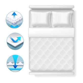 Iconos de información sobre el colchón de la cama. cama blanca realista con almohadas y mantas