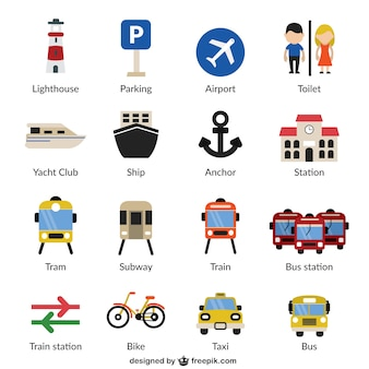 Iconos de infraestructuras y transportes