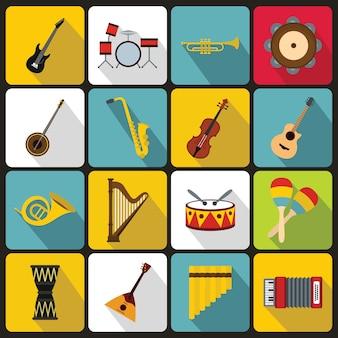 Iconos de instrumentos musicales, estilo plano.