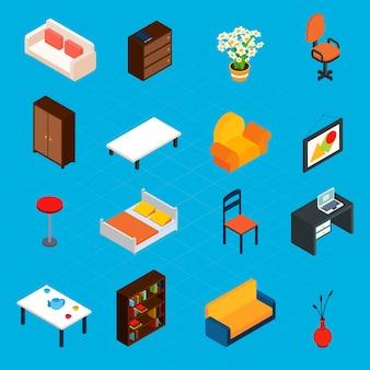 Iconos interiores isométricos