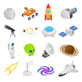 Iconos isométricos 3d del espacio
