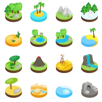Iconos isométricos 3d del paisaje