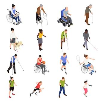 Iconos isométricos de actividades al aire libre para personas discapacitadas lesionadas con amputados de miembros deportivos moviéndose en silla de ruedas