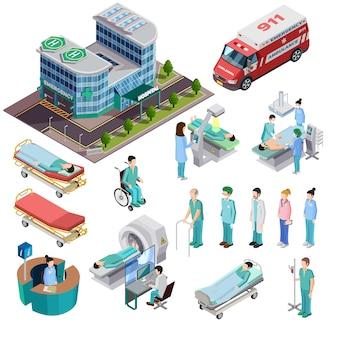 Iconos isométricos aislados del hospital