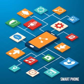 Iconos isométricos de aplicaciones móviles.