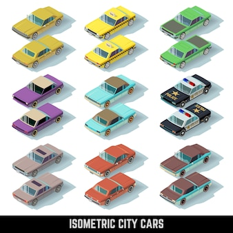Iconos isométricos de autos urbanos en las vistas delantera y trasera