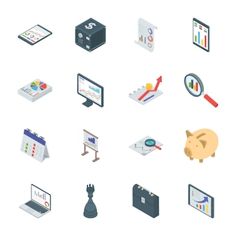 Iconos isométricos de banca y finanzas