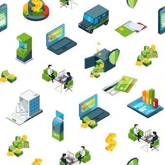 Iconos isométricos de banco de dinero