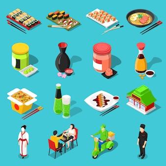 Iconos isométricos de la barra de sushi