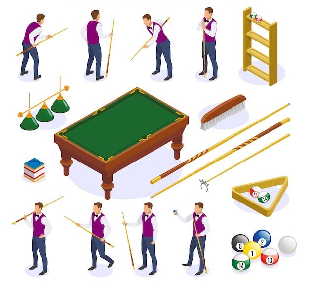 Iconos isométricos de billar con imágenes aisladas de tacos de tabla y bolas con personajes humanos