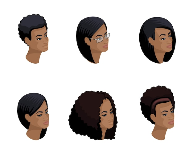 Iconos isométricos de la cabeza del peinado afroamericano, rostros, ojos, labios, emociones femeninas. isometría cualitativa de personas para ilustraciones.