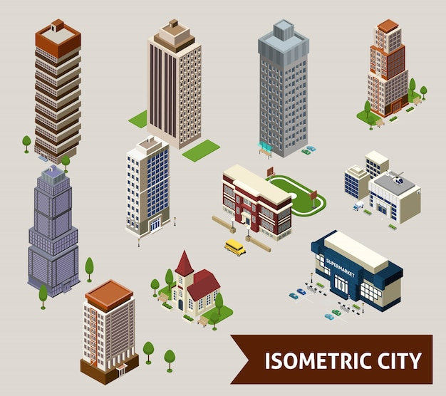 Iconos isométricos de la ciudad aislada