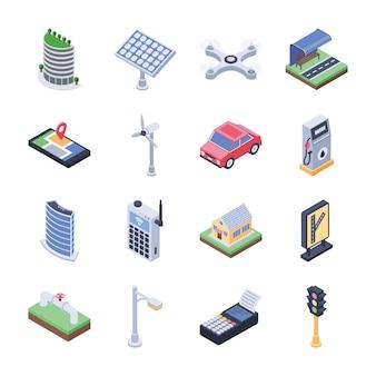 Iconos isométricos de ciudad inteligente