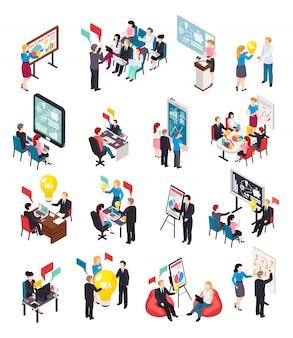 Iconos isométricos de coaching empresarial