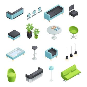 Iconos isométricos en color de elementos interiores del vestíbulo.