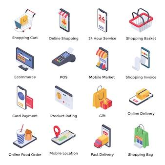 Iconos isométricos de comercio electrónico