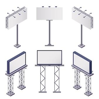 Iconos isométricos de construcciones publicitarias con vallas publicitarias rectangulares en blanco en blanco 3d ilustración aislada