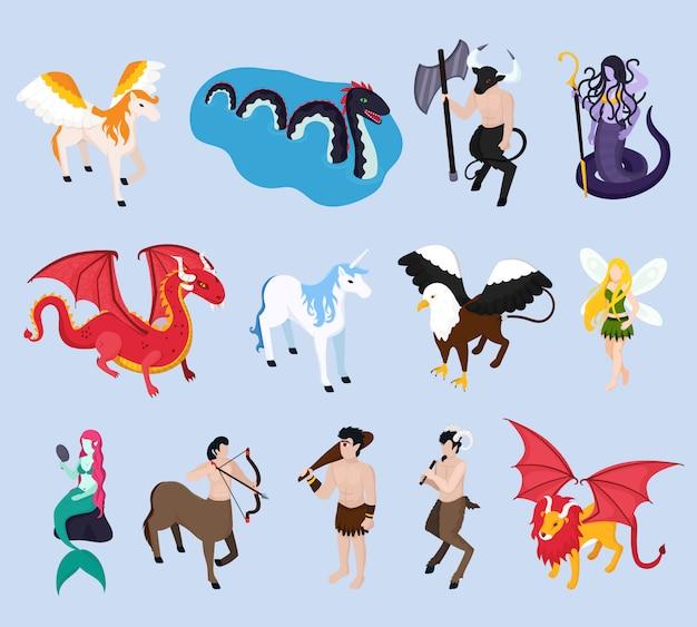 Iconos isométricos de criaturas míticas