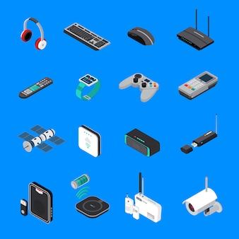 Iconos isométricos de dispositivos electrónicos inalámbricos