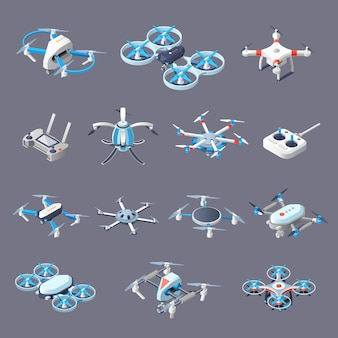 Iconos isométricos de drones