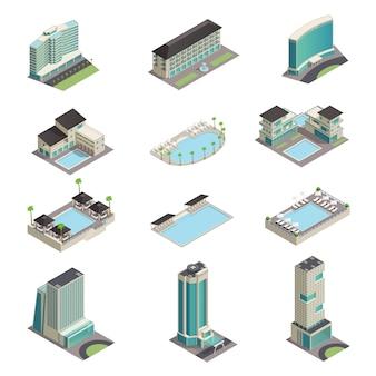 Iconos isométricos de edificios de hotel de lujo