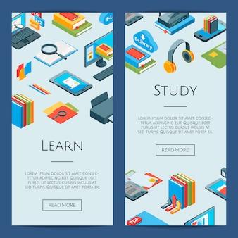 Iconos isométricos de educación en línea. 3d estudiando pancartas