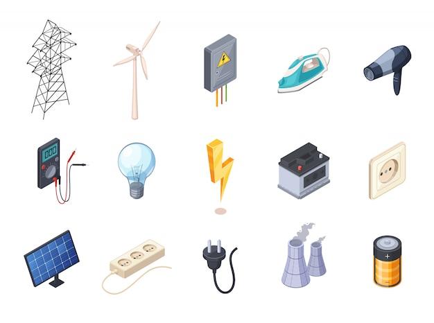 Los iconos isométricos de la electricidad fijaron con el ejemplo aislado del vector del zócalo y de la batería