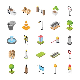 Iconos isométricos de elementos de la ciudad