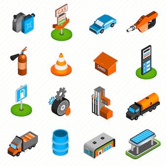 Iconos isométricos de elementos de gasolinera