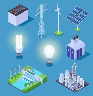 Iconos isométricos de energía eléctrica.