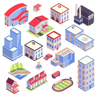 Iconos isométricos entorno de arquitectura de transporte urbano con imágenes aisladas de edificios modernos de la ciudad con diferentes funciones ilustración vectorial