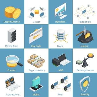 Iconos isométricos con equipo para minería de criptomonedas, blockchain y seguridad, tipos de cambio, código clave aislado ilustración vectorial