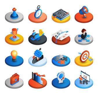 Iconos isométricos de estrategia empresarial